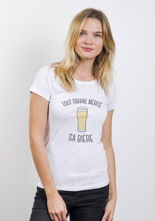 Tout travail mérite sa bière T-shirt Femme Col Rond