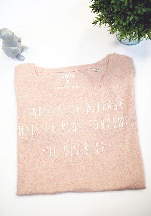 Je diverge T-shirt rose chiné Femme