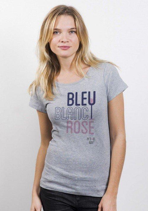 Bleu Blanc Rosé T-shirt Femme Col Rond