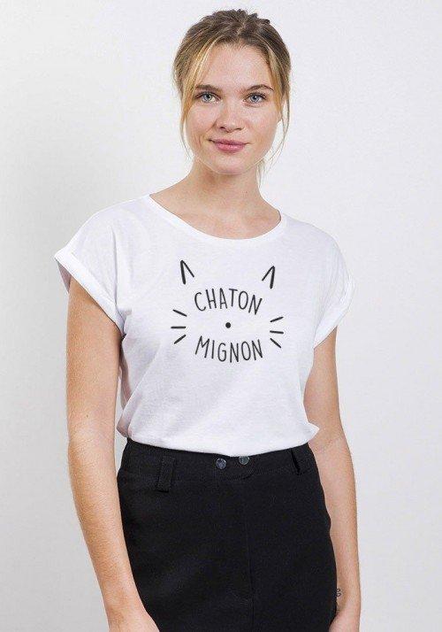 Chaton Mignon T-shirt Femme manche retroussées