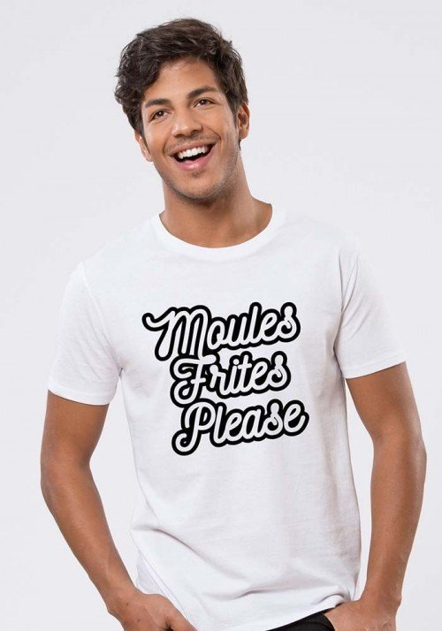 moules frites  T-shirt Homme Col Rond
