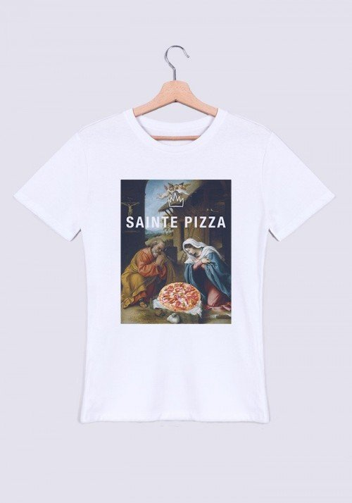 Sainte Pizza T-shirt Homme Col Rond