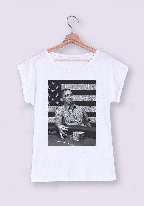 Obama T-shirt Femme Manches Retroussées