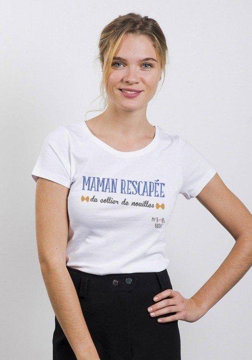 Collier de Nouilles T-shirt Femme Col Rond