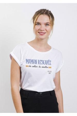 Collier de Nouilles T-shirt Femme Manches retroussées