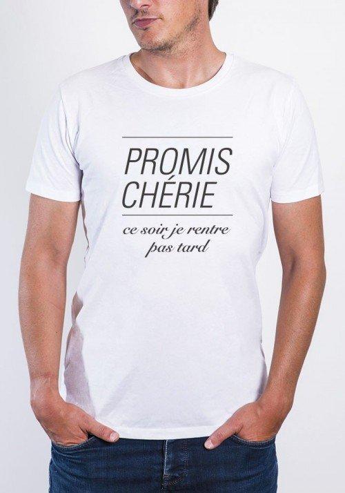 Promis Chérie Pas Tard T-shirt Homme Col Rond