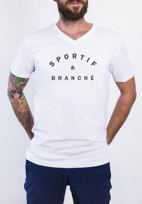 Sportif et Branché T-shirt Homme Col V
