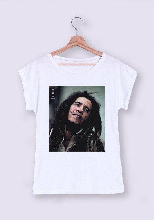 Obamarley T-shirt Femme Manches Retroussées