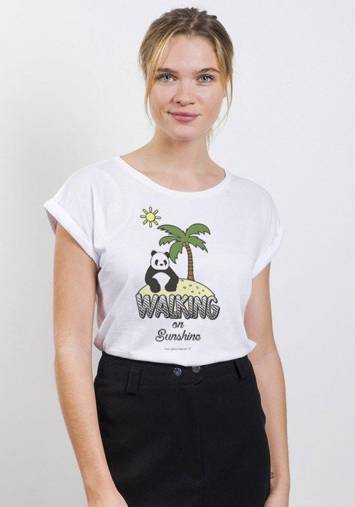 Walking on Sunshine T-Shirt Femme Manches Roulées