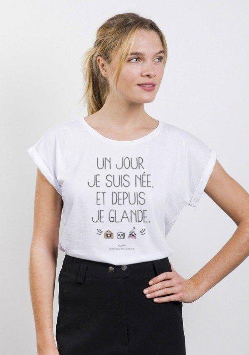 Un Jour Je Suis Née T-Shirt Femme Manches Roulées