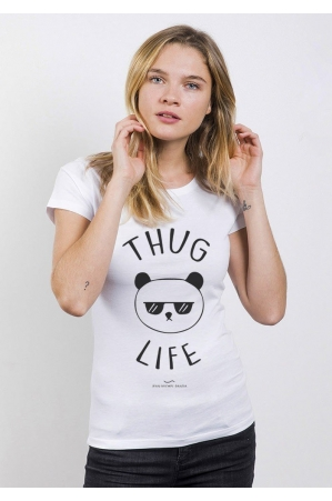 Thug Life Panda T-shirt Femme Col Rond
