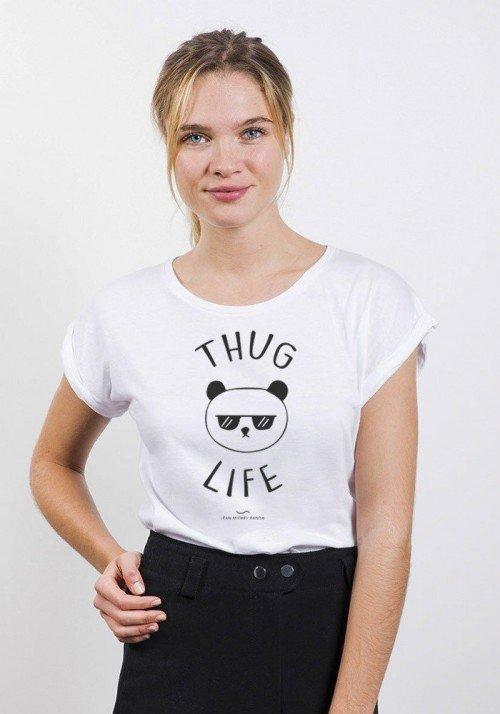Thug Life Panda T-shirt Femme Manches retroussées