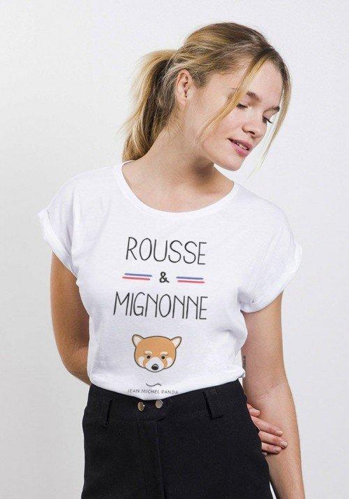Rousse et Mignonne T-Shirt Femme Manches Roulées