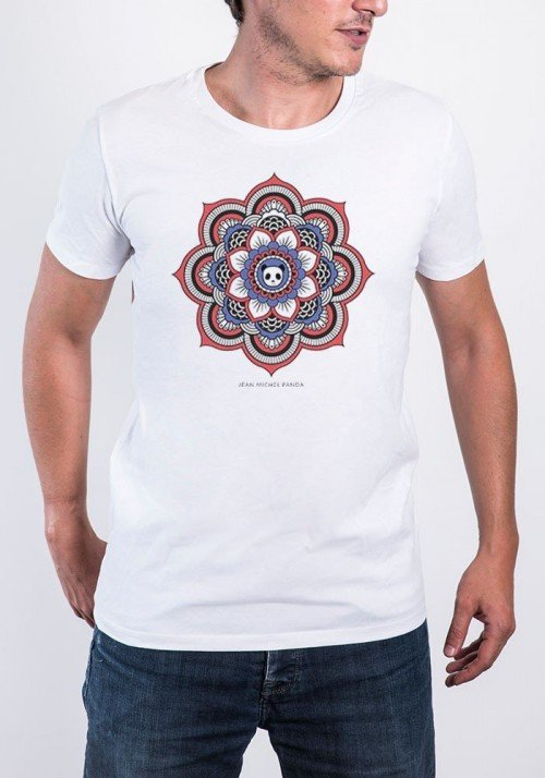 Mandala Panda T-shirt Homme Col Rond
