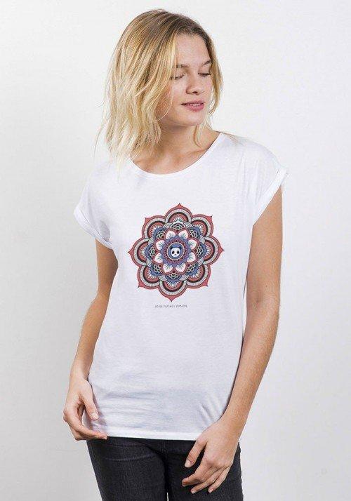 Mandala Panda T-Shirt Femme Manches Roulées