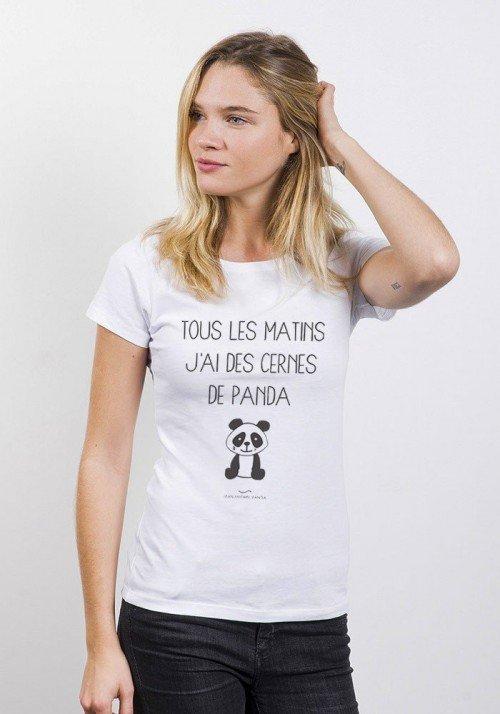 Cernes de panda T-shirt Femme Col Rond