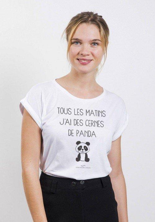 Cernes de panda T-shirt Femme Manches retroussées