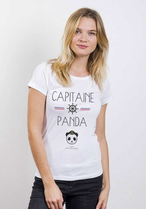 Capitaine Panda T-Shirt Femme Col Rond
