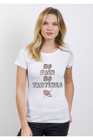 No Pain No Tartines T-shirt Femme Col Rond