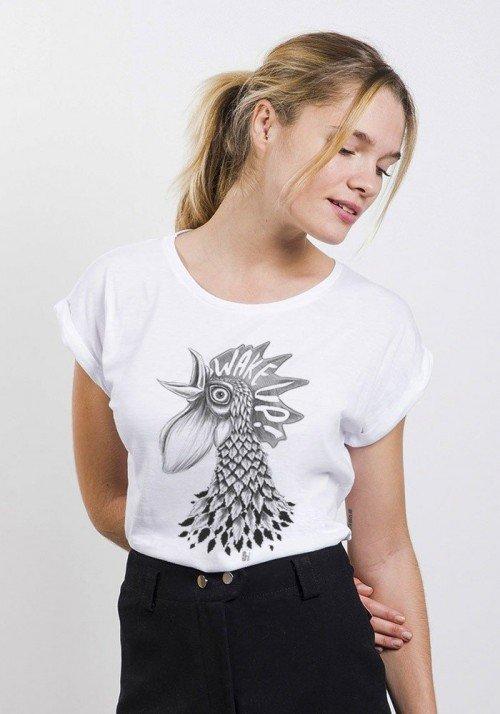 Wake Up T-shirt Femme Manches Retroussées