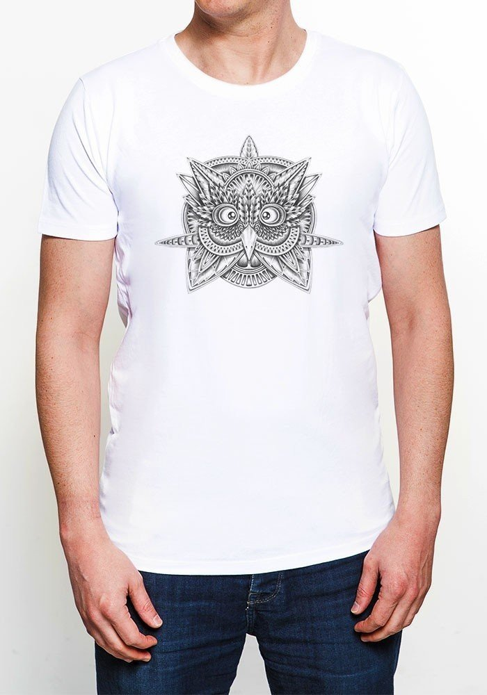 Tribal Owl T-shirt Homme Col Rond