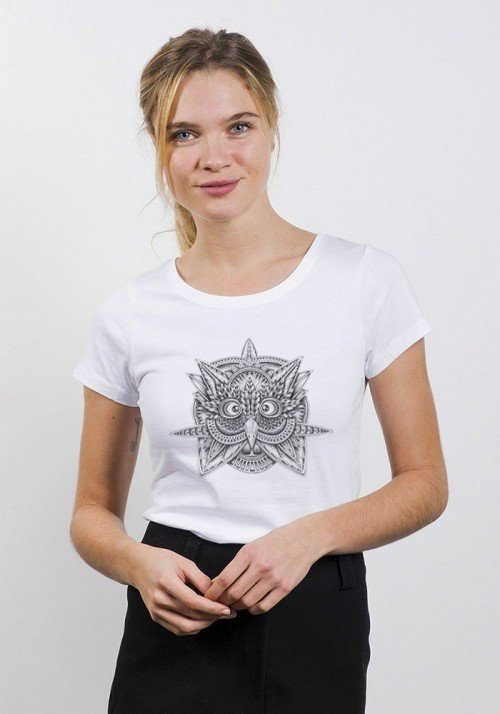 Tribal Owl T-shirt Femme Col Rond