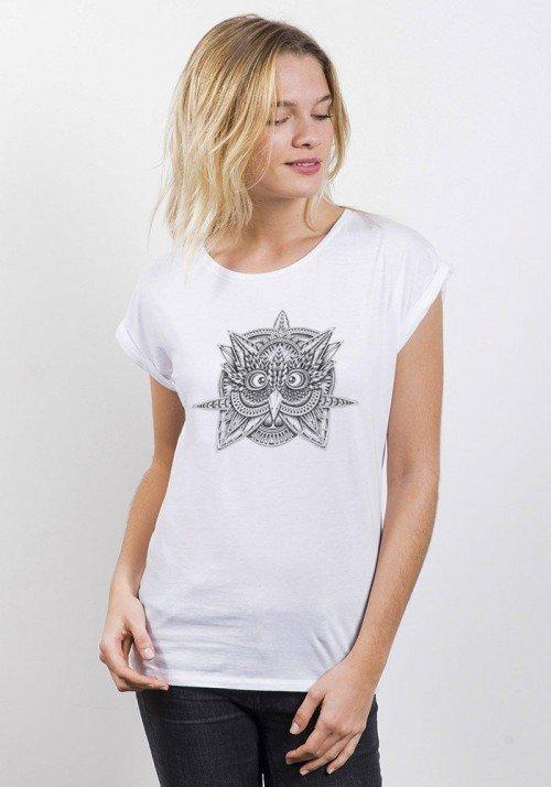 Tribal Owl T-shirt Femme Manches retroussées