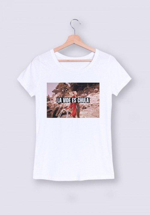 La vida es chula T-shirt Femme Col rond