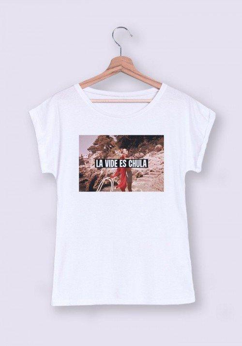 La vida es chula T-shirt Femme Manches retroussées