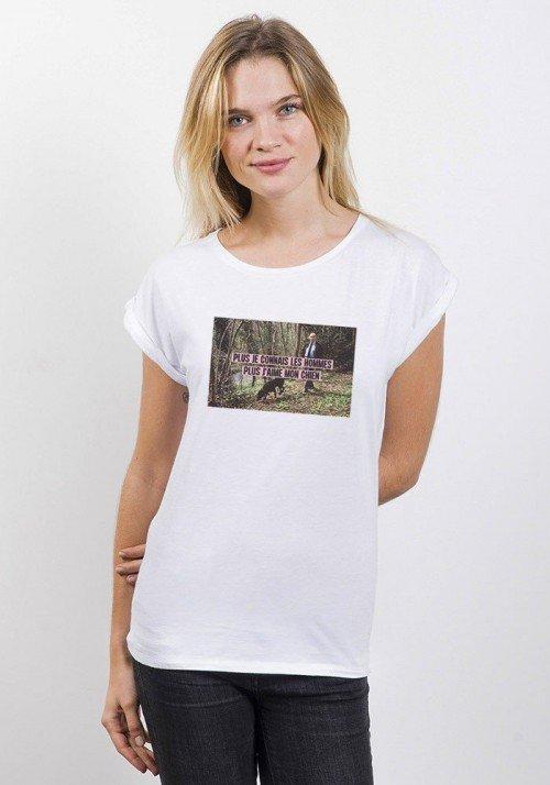 J'aime mon chien T-shirt Femme Manches retroussées