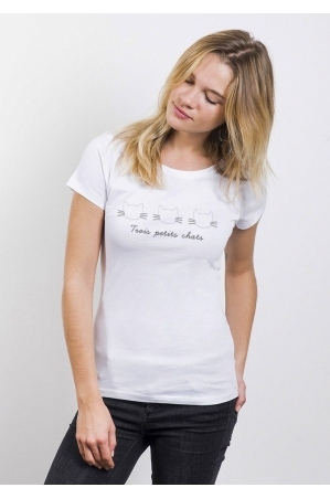 3 Chats T-shirt Femme Col Rond
