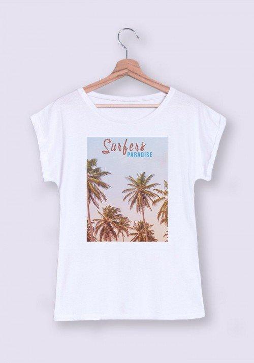 Surfers Paradise T-shirt Femme Manches retroussées