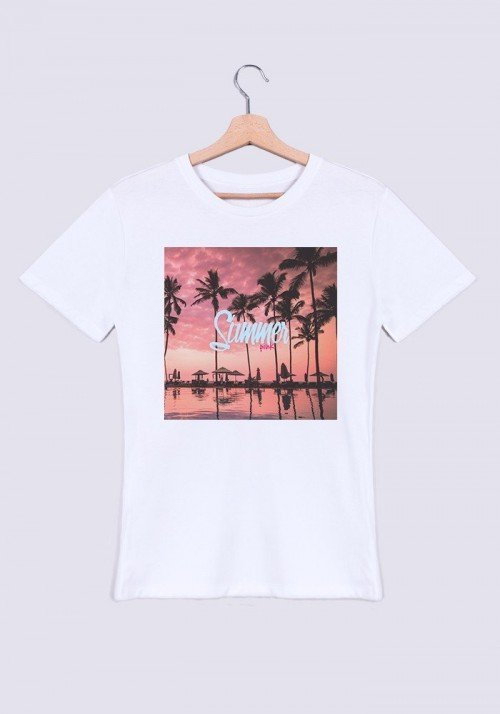 Summer Pink T-shirt Homme Col Rond