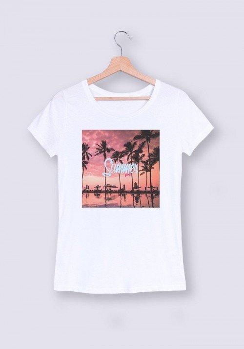 Summer Pink T-shirt Femme Col Rond