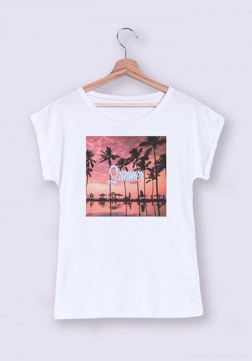 Summer Pink T-shirt Femme Manches retroussées