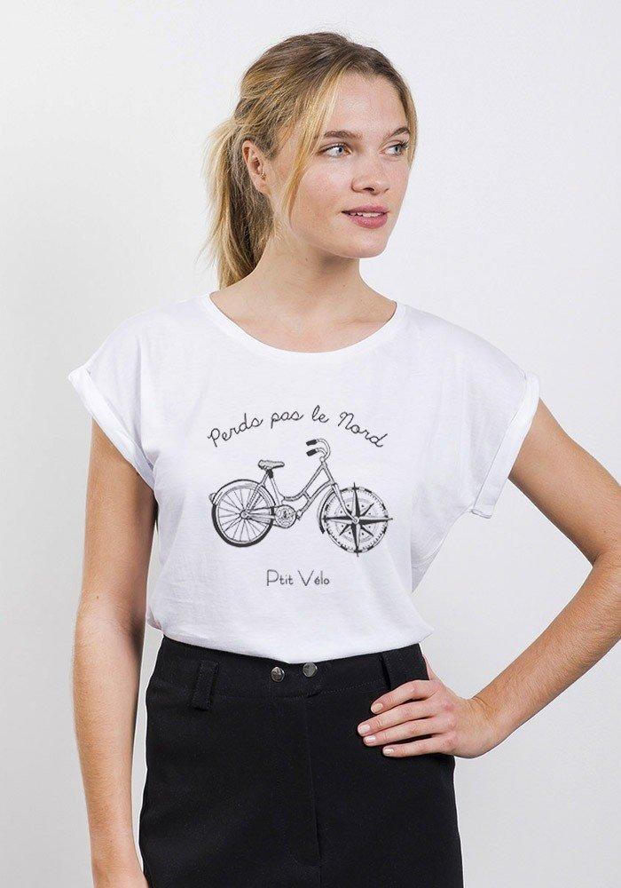 Perds pas le Nord T-shirt Femme Manches Retroussées