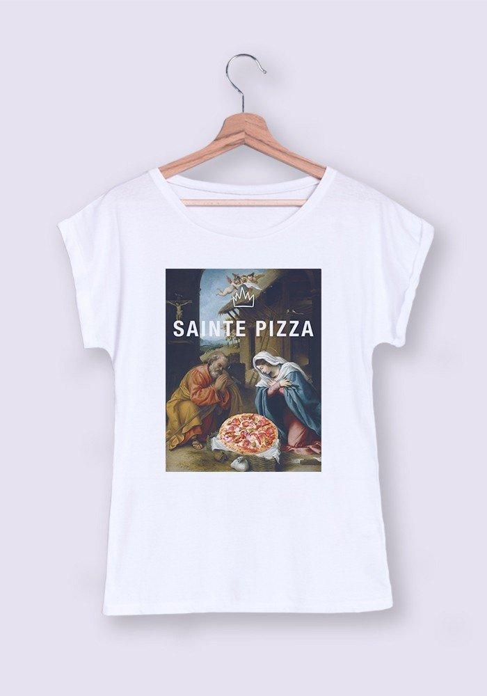 Sainte Pizza T-shirt Femme Manches retroussées