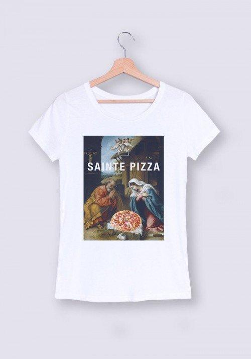 Sainte Pizza T-shirt Femme Col Rond