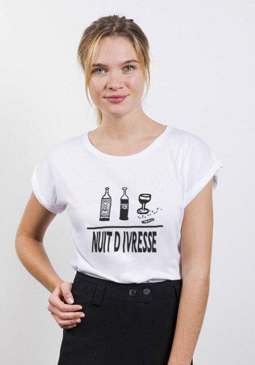 Nuit d'Ivresse T-shirt Femme Manches Retroussées