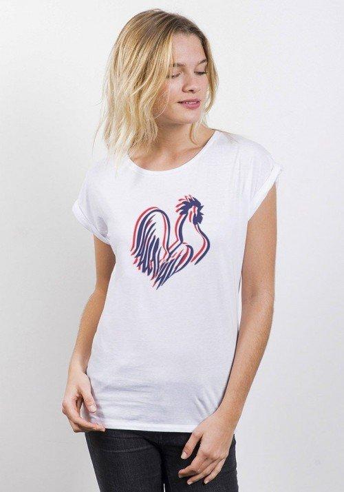 Coq Français T-shirt Femme Manches Retroussées