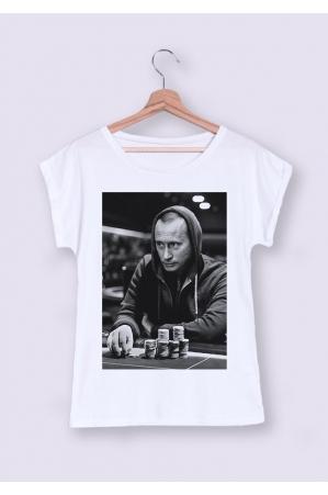 Poutine Gambling T-shirt Femme Manches Retroussées