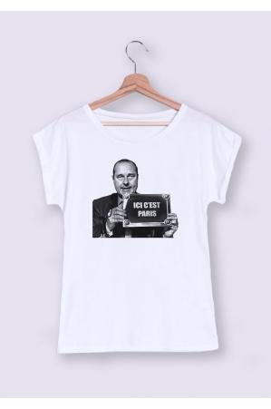 Ici c'est Paris T-shirt Femme Manches Retroussées