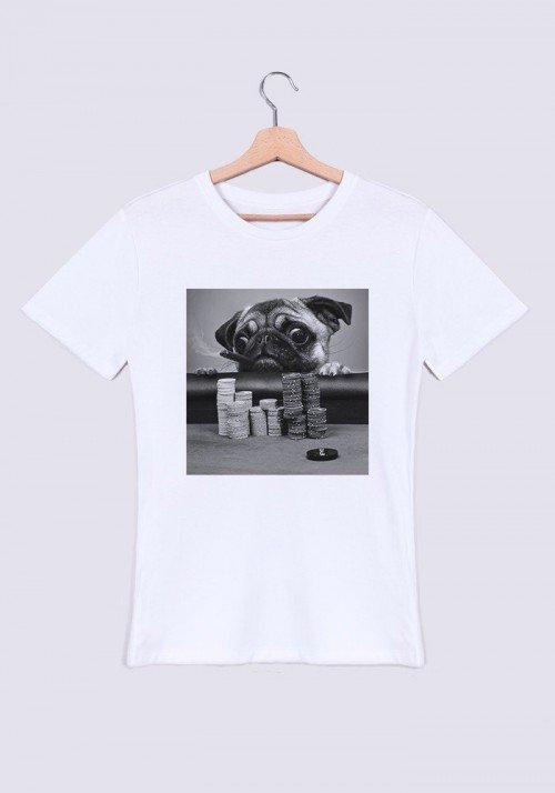 Gambling Pug T-shirt Homme
