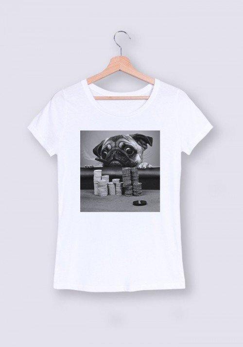 Gambling Pug T-shirt Femme Col Rond