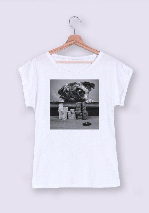 Gambling Pug T-shirt Femme Manches Retroussées