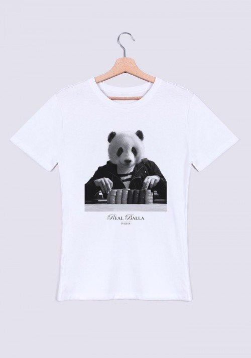 Gambling Panda T-shirt Homme Col Rond