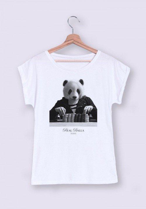 Gambling Panda T-shirt Femme Manches Retroussées