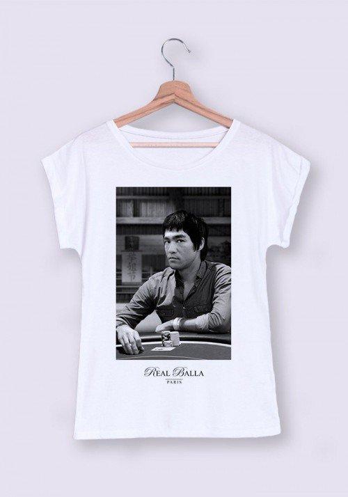 Bruce Lee T-shirt Femme Manches Retroussées