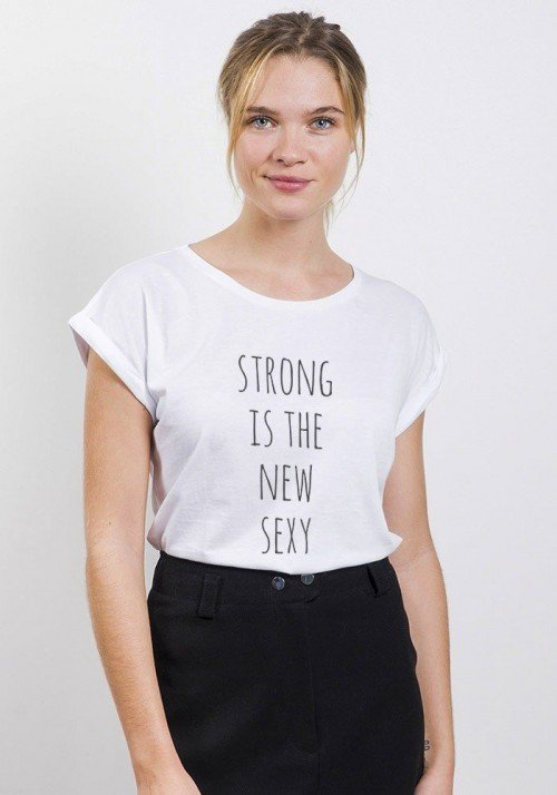 Strong is the New Sexy T-shirt Femme Manches Retroussées