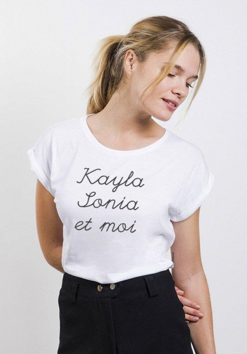 Kayla Sonia et Moi T-shirt Femme Manches Retroussées